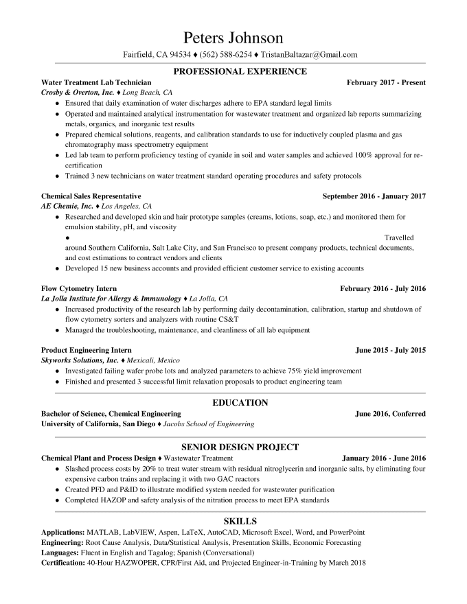 Water Treatment Plant Operator Supervisor Resume Technical Writer