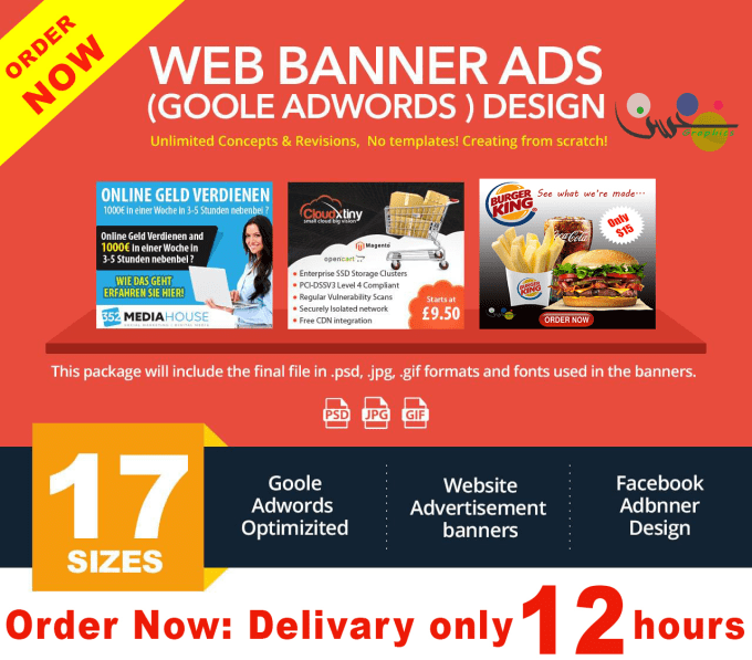 design facebook ads, google ads, web ads in 24 hours