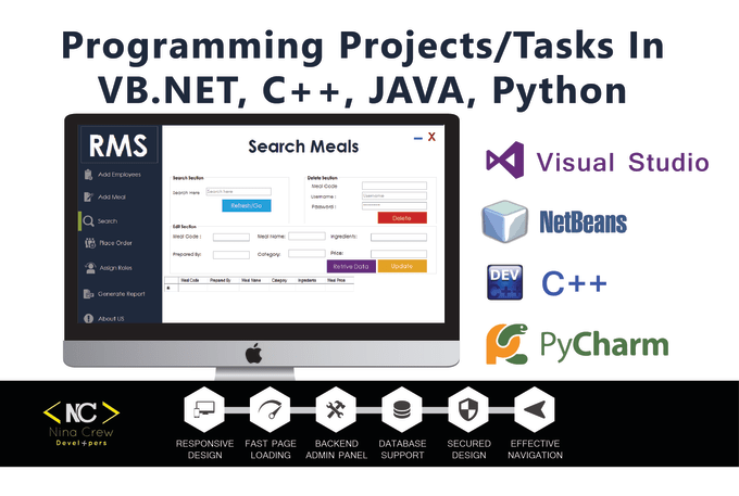 do cpp, java, c sharp, vb, asp projects