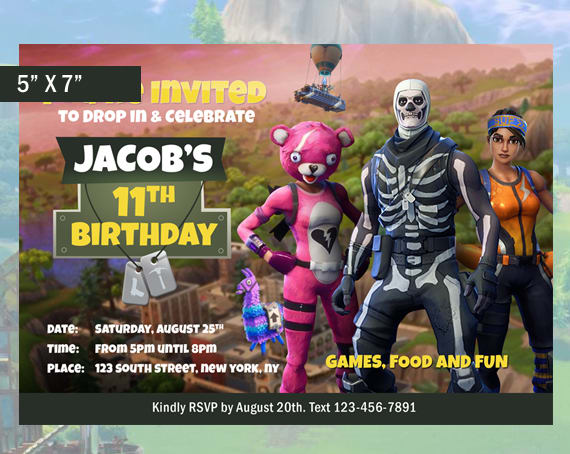 Make A Fortnite Birthday Party Invitation By Codedwireprints
