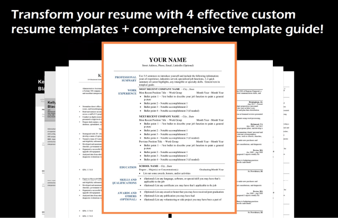 provide 4 easy to use resume templates by dwedits