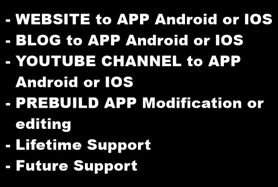 convert your website, blog or youtube channel in app