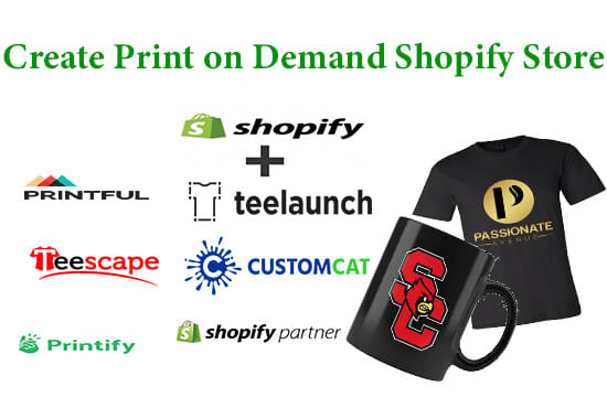 create print on demand shopify store or pod website