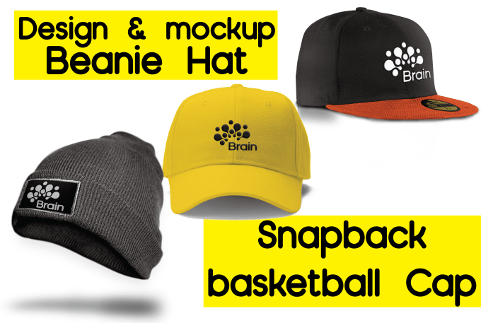 a1d04ecb7ff I will design realistic snapback beanie hat basketball cap design and mockup