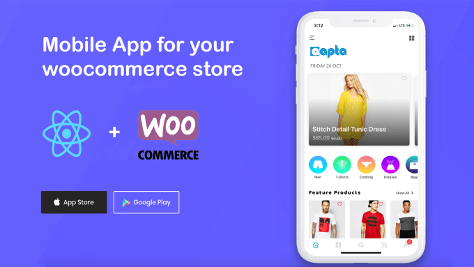 create react native mobile apps for woocommerce website