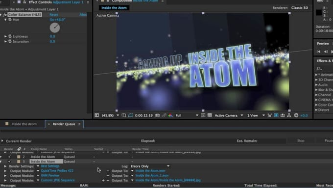 render cinema 4d or after effects project