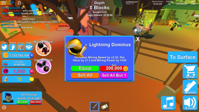 give 3 mythical hats in mining simulator roblox