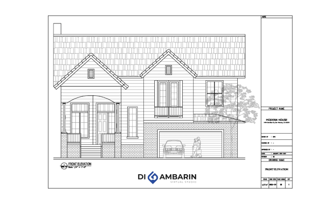 draw architectural elevation house