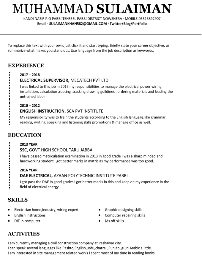 create a resume cv cover letter and linkedin profile by mkhan7614