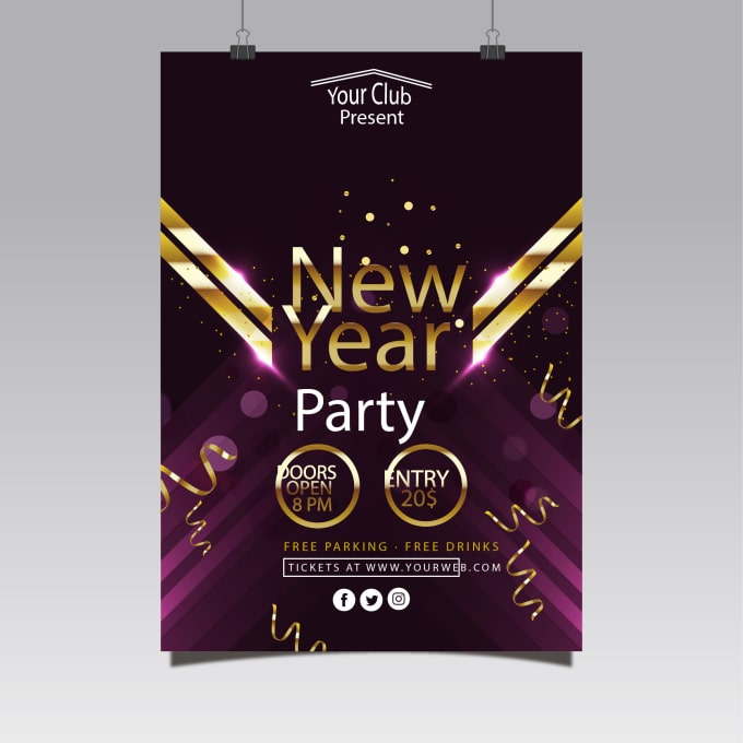 design new year cards posters party invites