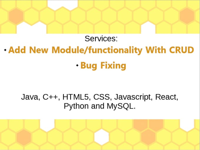 amirolhussaini : I will code cpp, java, html5, css, javascript, react,  python and mysql for you for $5 on www fiverr com