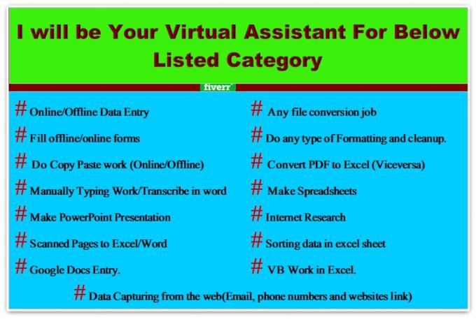 do data entry, copy paste, pdf convert, web researcher job