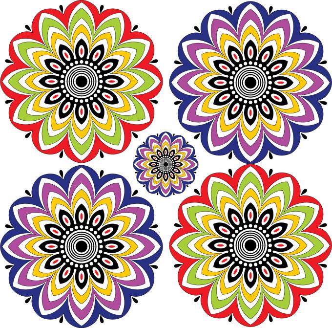 Draw Watercolor Unique Mandala For Logo Book Prints Pattern