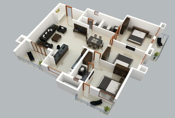 create 3d floor plan of house or apartment