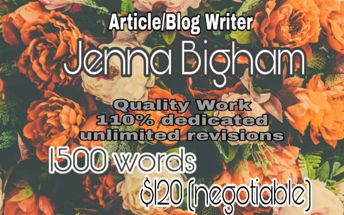 jennabigham : I will write website articles for parenting cooking baking  etc for $120 on www fiverr com