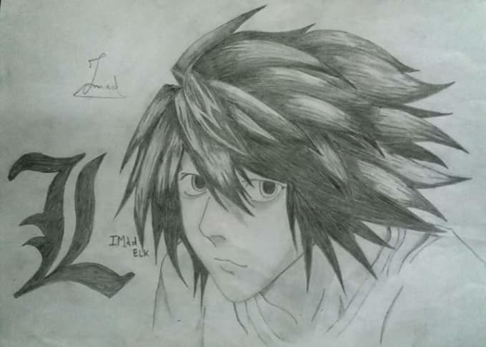 Draw Potrait Of Your Friends Or Anime With Ur Signature Blacknwhite