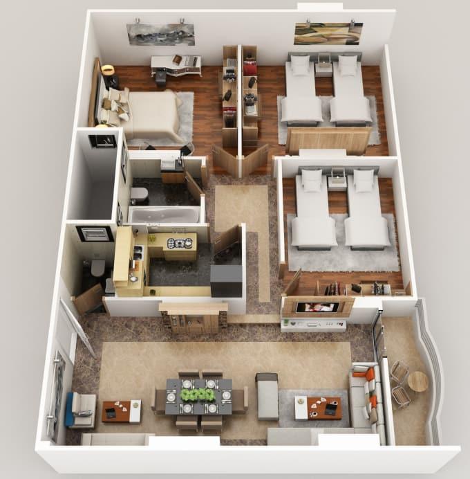 Model Render Floor Plan Google Sketchup Interior