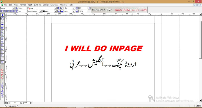 asadza : I will do type in urdu and arabic in inpage or ms word for $5 on  www fiverr com