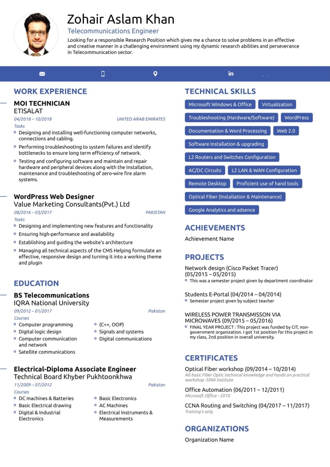 zohair04 : I will create your professional entry level resume, cover letter  for $50 on www.fiverr.com