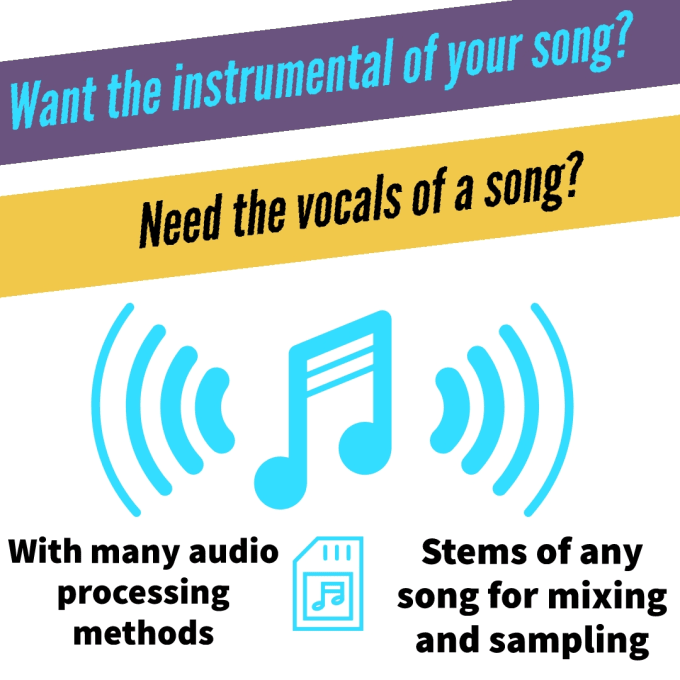 extract the vocals, drums or music from a song
