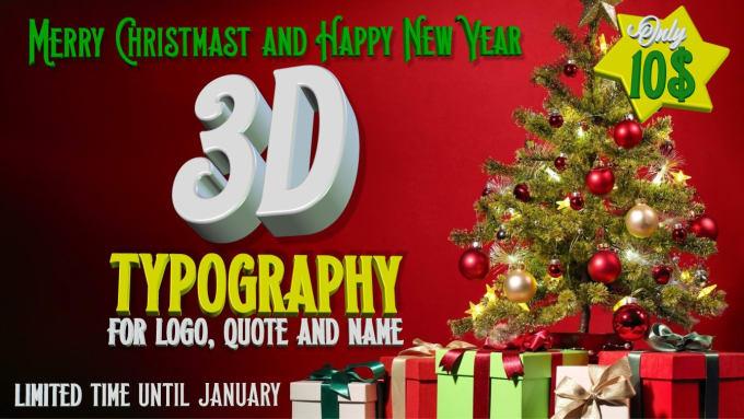juanjeje : I will christmas typography 3d logo wallpaper for $5 on  www.fiverr.com