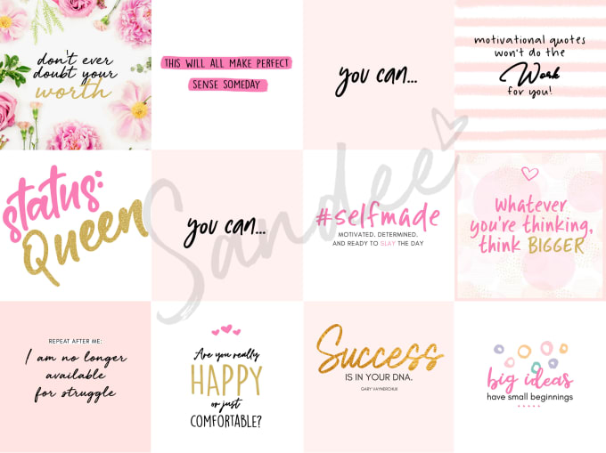 sandeesevilla : I will give you 12 premade lady boss instagram quotes for  $20 on www.fiverr.com