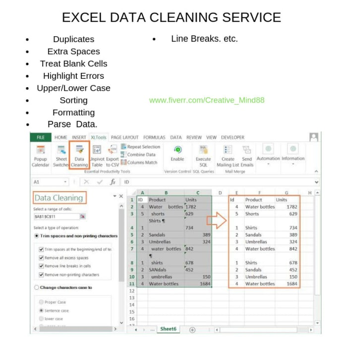 clean, fix problems and organize your excel spreadsheet swiftly