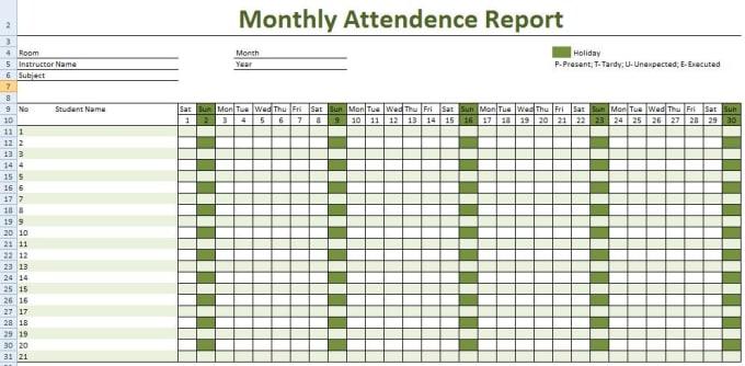 Resume Templates Attendance Sheet