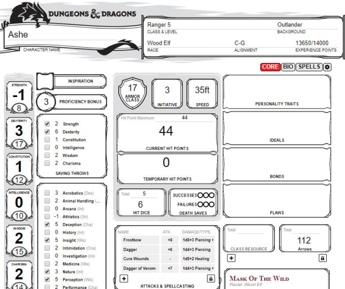 Make Your Dnd Character Sheet By Cakehatzombie