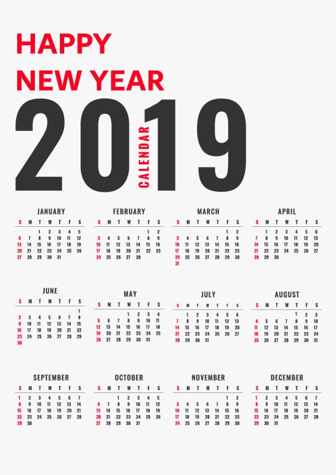 Custom Calendar 2019 Design a custom calendar 2019 for you by Ibrahimsubhy