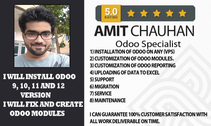 amitchauhanphp : I will install odoo versions and upgrade and customize for  $150 on www fiverr com