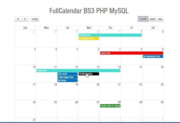 integrate fullcalender plugin in your website