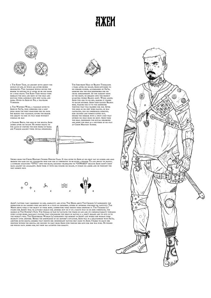 Fantasy Character Line Art