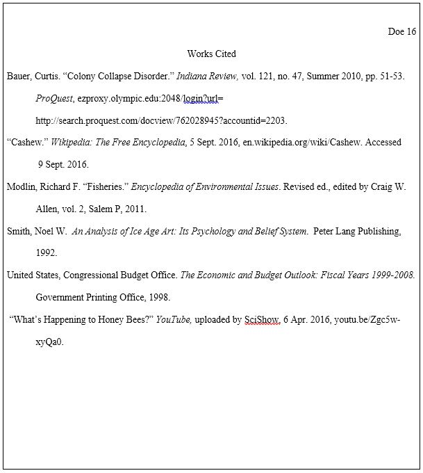 works cited page in mla format