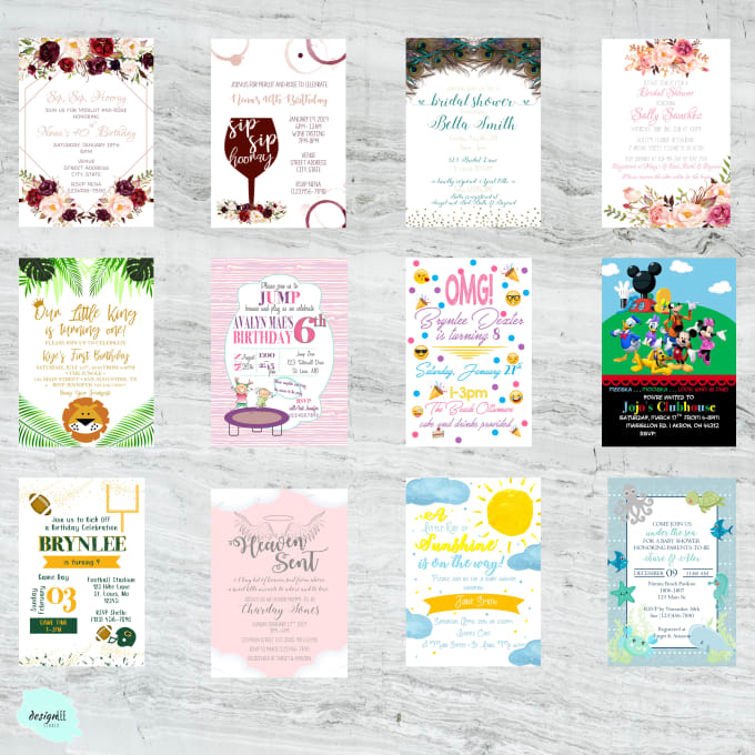 Design Custom Birthday Invitations Within 24 Hours By Clarissacameron