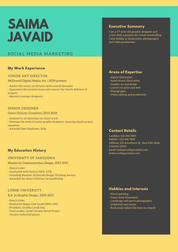Write a cover letter resume, cv, formal letters by Saima5369