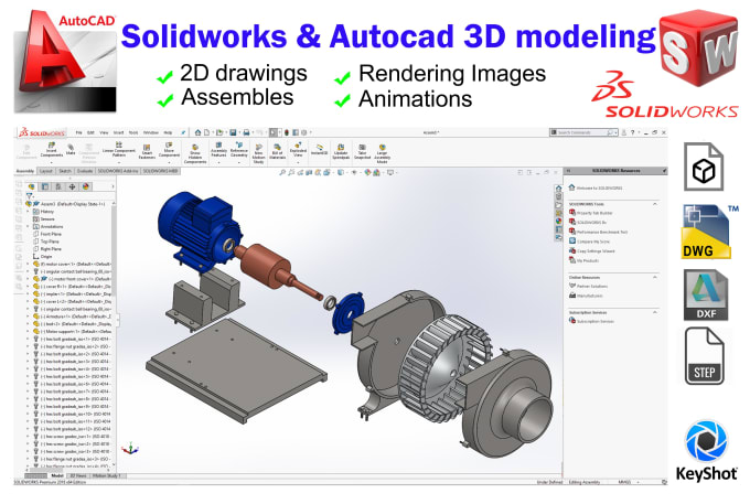 do any 3d model and 2d drawing with solidworks and autocad