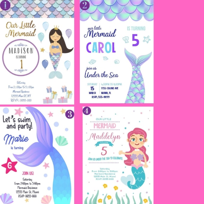 Design Amazing Mermaid Birthday Invitations