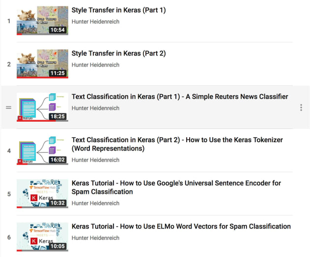 create a deep learning tutorial video in keras or tensorflow