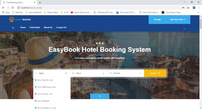 build hotel booking website like airbnb in laravel
