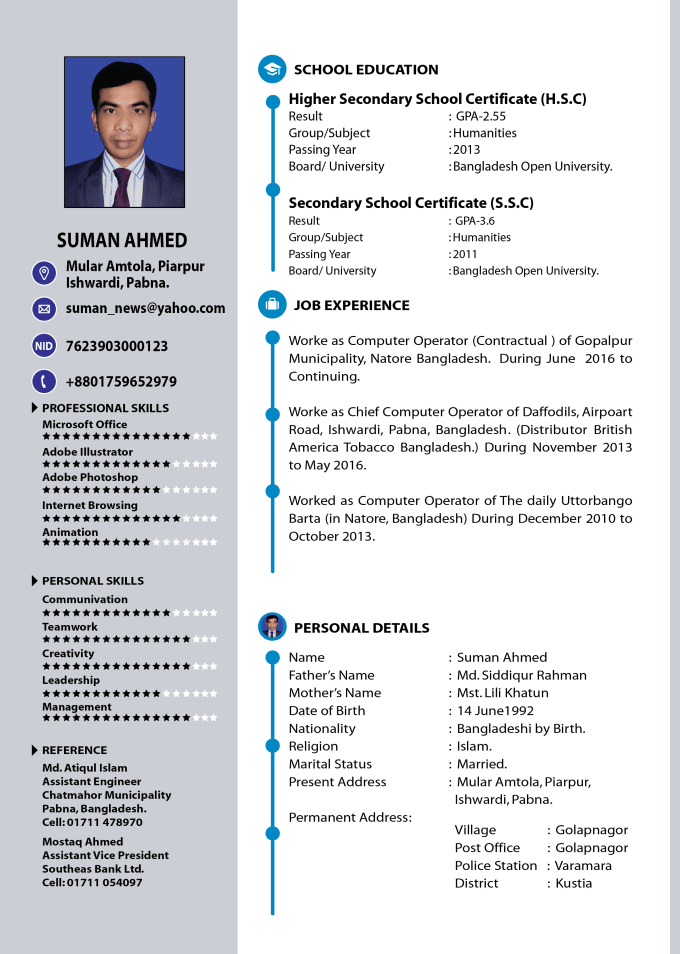 Professional Resume And Cv Design By Jibon072007