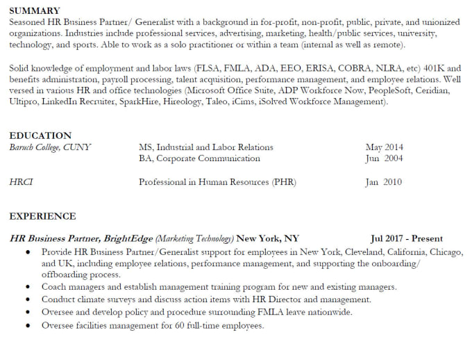 resume writing by an HR pro