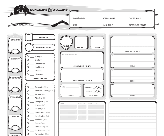 basic dungeons and dragons character sheet create a dungeons and dragons character sheet for e