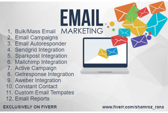setup mass email campaigns,autoresponder and email marketing