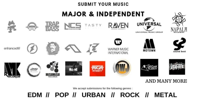 deliver your music to record labels and agencies