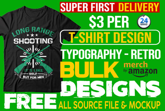 do bulk package t shirt designs for amazon or printful
