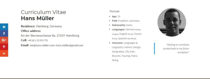 Create An Impressive Responsive Online Cv Including Domains By Hans22