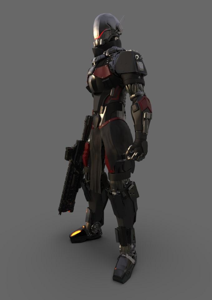 sculpt 3d models for scifi characters