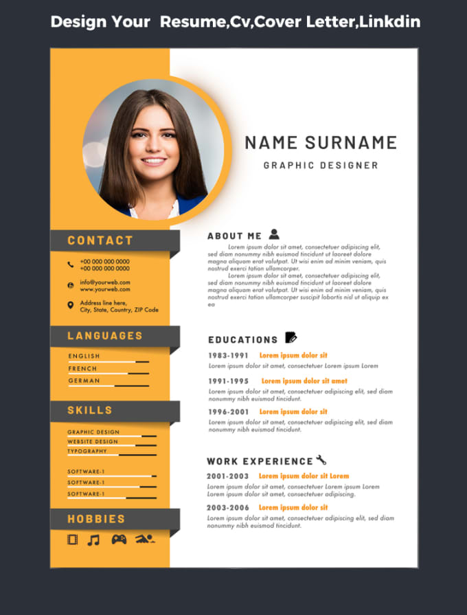 design your resume,cv,cover letter,linkdin