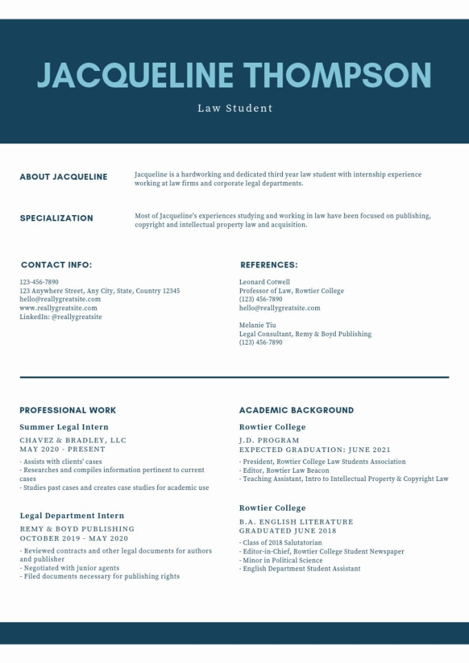 Provide A Professional Cv Resume Coverletter For You